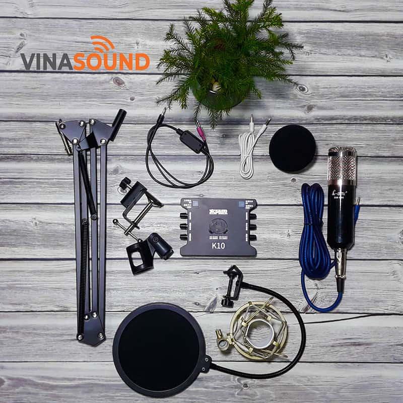 combo micro thu âm ami bm 900 + sound card xox k10