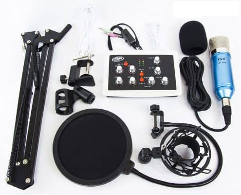 combo mic thu âm isk at100 sound card hf5000 pro