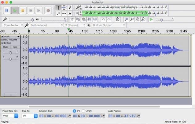 giao diện của audacity trên mac os