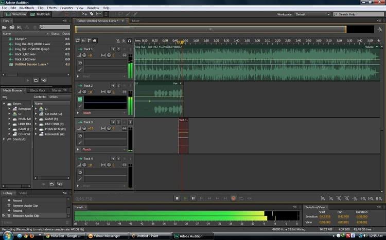 Giao diện làm việc Adobe Audition CS6
