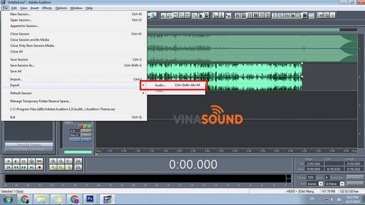 export file trong adobe audition 1.5