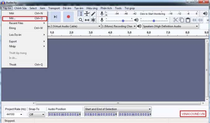 mở file âm thanh audacity