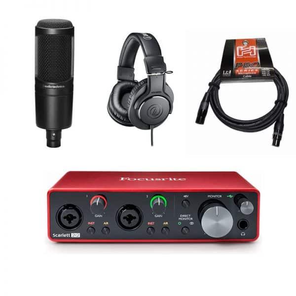 Combo Focusrite Scarlett 2i2, Audio technica AT2020, Tai nghe ATH-M20x