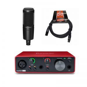 Combo Thu Âm Focusrite Scarlett Solo Gen 3 và Audio Technica AT2020