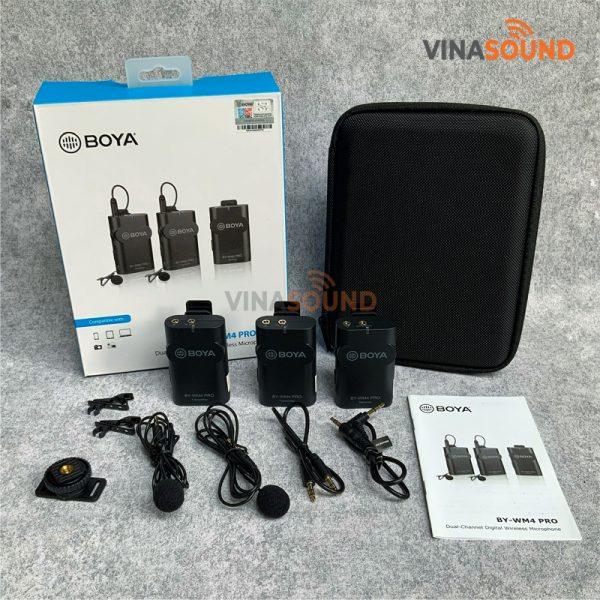 Trọn bộ micro không dây BOYA BY-WM4 Pro K2 | Ảnh: Vinasound.vn