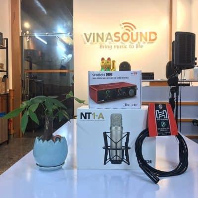 Trọn bộ combo thu âm Rode NT1A + Soundcard Focusrite 2i2 Gen 3 | Ảnh: Vinasound.vn
