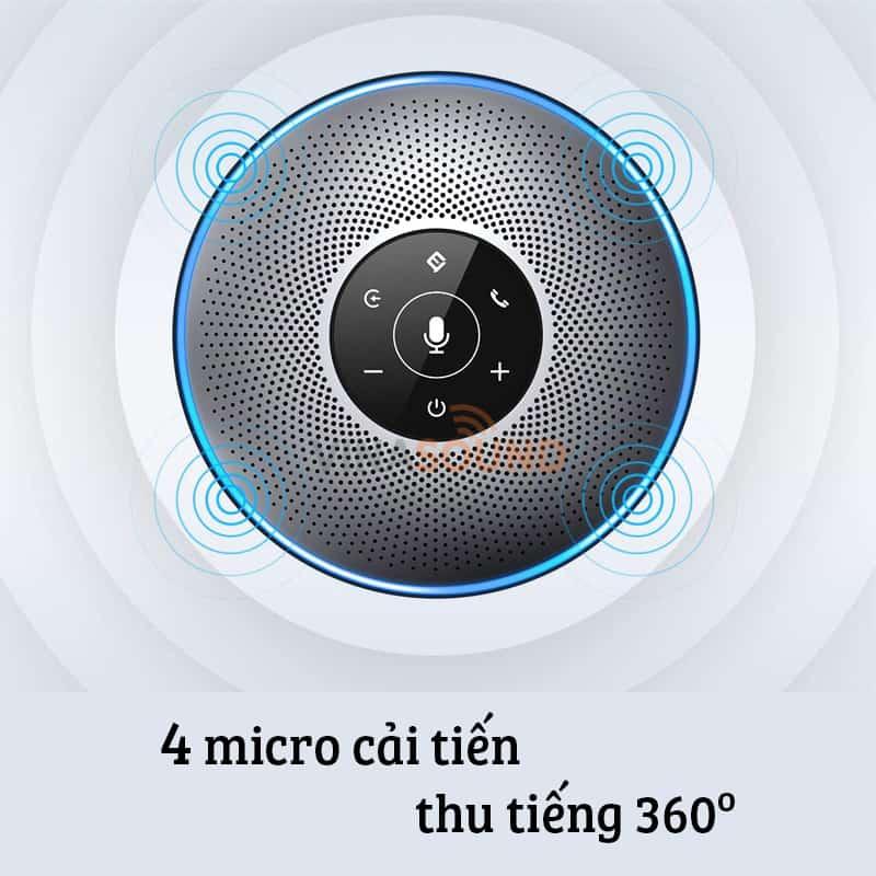eMeet M2 với 4 mic cải tiến thu âm 360 độ